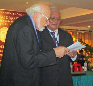 Luke Martin (left) and Vietnamese Mennonite pastor Nguyen Quang Trung at the November 2012 celebration of the Vietnam Mennonite Church.