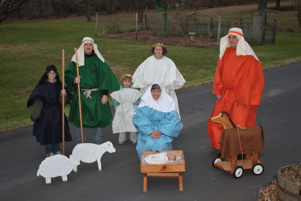 Titus & Diane Hunsberger and their family, Perkiomenville congregation, have taken their manger scene with taped music on the road for many years. Photo by Rich Moyer.