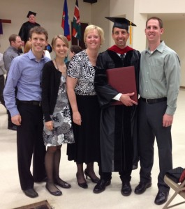 Mike Derstine with his family at graduation from Palmer.