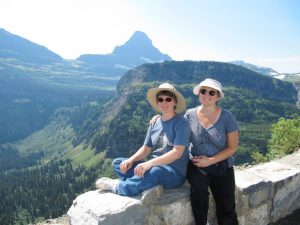 Paula (right) with her sister Ariane (left) in Glacier National Park.