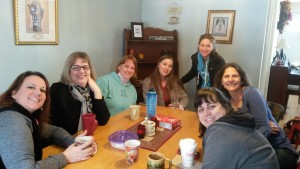 "Participants share coffee at their weekly ""coffee and chaos"" gatherings."
