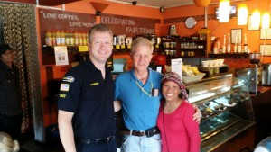 Dave Mansfield with Dale and Bethsaba Nafziger at Top of the World Coffee Shop located in Kathmandu Nepal (April 30, 2015)