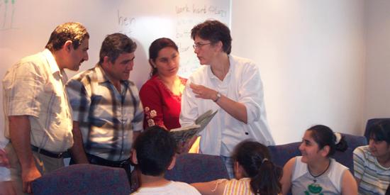 Rustam, Sasha and<br>  Nigar Lomidze in ESL<br>  class at Blooming<br>  Glen Mennonite with<br>  teacher, Julie Delp.